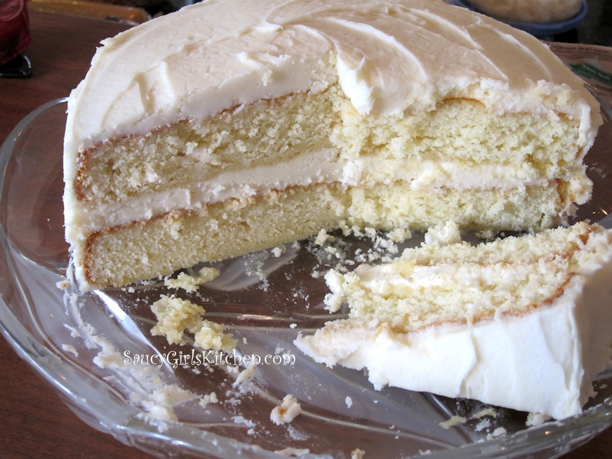 Vanilla Layer Cake with Butter Cream Cheese Frosting Great food
