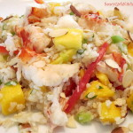 Coconut Mango Rice topped with Lobster