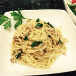 Spaghetti Carbonara with Side Salad