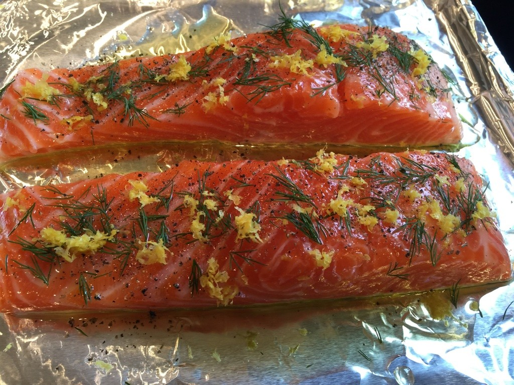 Salmon ready for the oven
