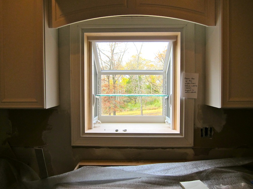 New Garden Window with cabinets beside and trim above ...